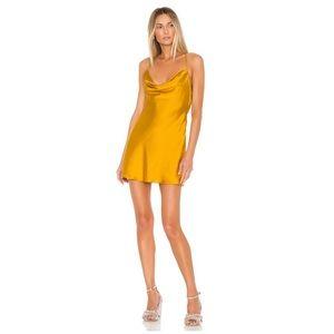 NEW Lovers + Friends Yellow Boa Mini Slip Dress
